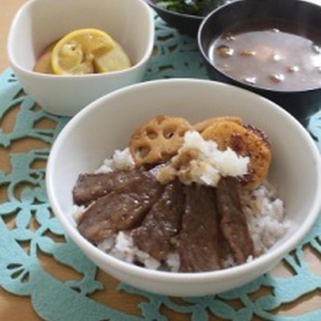 バルサミコ+のカルビ丼定食&今日のお弁当