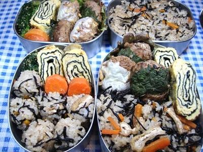 ひじきご飯と2色ハンバーグ