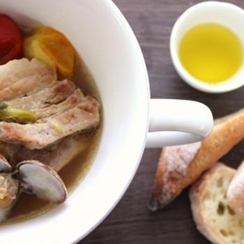 塩糀漬け豚バラのアクアパッツァ と あっ☆ 昨日のイチオシレシピに掲載