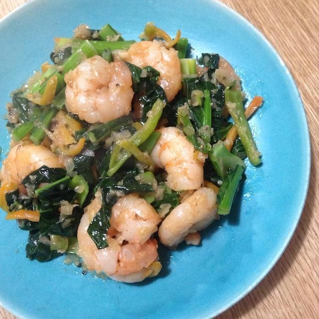 おせち以外の料理が食べたい 「小松菜のガーリックシュリンプ」