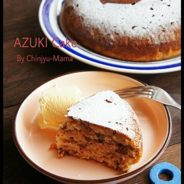 オススメ[簡単!混ぜるだけ!] フライパンであずきケーキ バニラアイス添え