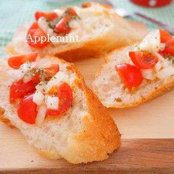 【スパイス大使】ハッピー朝ごはん♪ミニトマトと玉ねぎのハーブマリネブルスケッタ