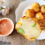 枝豆ハムコーンチーズのじゃがいもボール