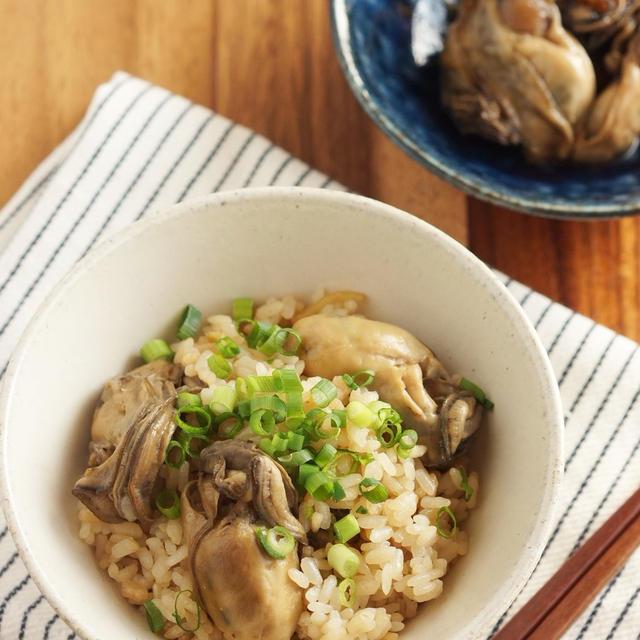 作り置き牡蠣の佃煮で♬炊き込みご飯…もちろんお酒と。