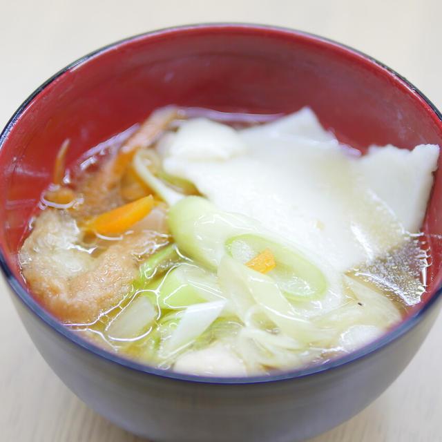 【レシピ】宮城県登米市の郷土料理「はっと」汁をお家でいただく。小麦粉で作る、はっとと、あぶら麩に味が染みて