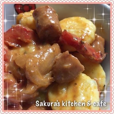 ポテトサラダがイタリアンに変身☆ジャガイモのニョッキ の トマトクリーム