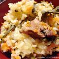 蓬と蕨と豚肉のプロフ風炊込みご飯
