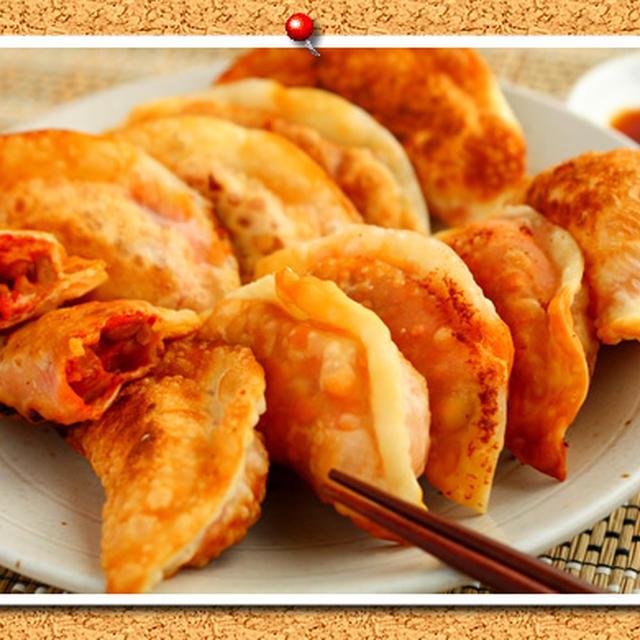 納豆キムチーズ+黒酢の揚げ餃子。