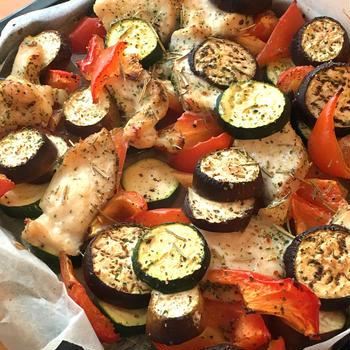 野菜と鶏むね肉のオーブン焼き
