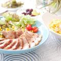 【作り置きに便利な煮豚と、男子も好きなカルボナーラの昼ごはんテーブルコーディネート】