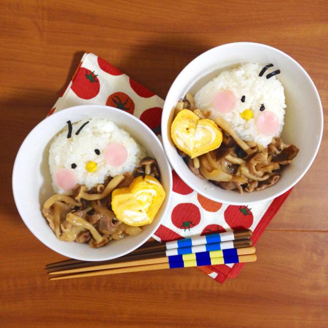 簡単朝ごはん!豚肉の味噌チーズ炒めで「ヒヨコ丼」