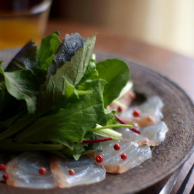 昆布〆真鯛のカルパッチョ。