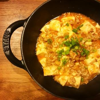 ストウブベビーウォックで麻婆豆腐&満州の水餃子