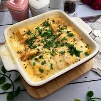 レトルトパスタソースで作る!チーズとろ~り厚揚げグラタン