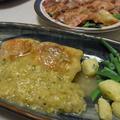 チキンステーキ下仁田ソース・鯨ベーコンの和風バルサミコカルパッチョ