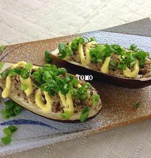 トースターで♪なすボート de サバ水煮缶の味噌マヨネーズ焼き