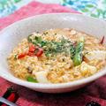 オートミールとシーフードミックスのパエリア風雑炊|レシピ・作り方