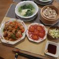 黒酢酢鶏とエビチリで中華ご飯 と 満開のアオダモの木♪
