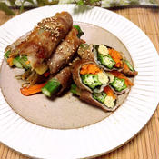 ニンニク風味の野菜の肉巻き