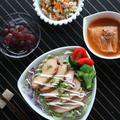 しっとり!鶏チャーシュー丼と洋風いり豆腐
