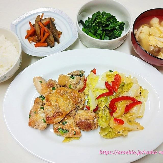 【家ごはん】チキンソテー、きんぴら、菜の花、かきたま汁♪東西で違う?汁物の位置!