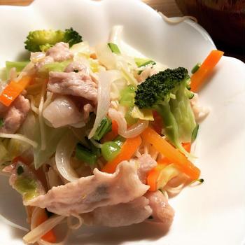 フライパン一つで 簡単 和風素麺チャンプル