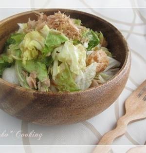 玉ねぎドレで、白菜とツナのサラダ