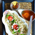 レンチン簡単くるみつゆ豚のシソ巻き蕎麦 を からしごま油地鶏つゆで。