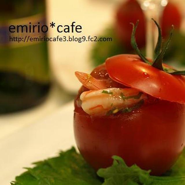 梅とエビのトマトカップサラダ