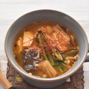 レシピブログでの連載更新しました♪さばの水煮缶でチゲ風キムチスープ
