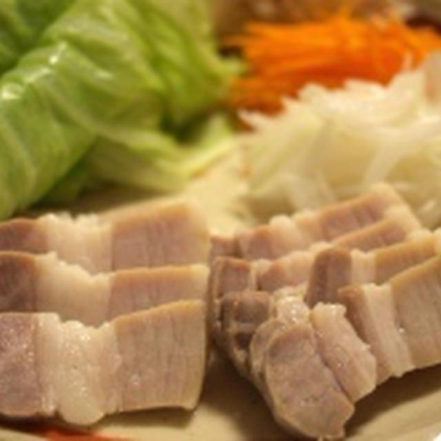 ヘルシーおつまみ!蒸し野菜 & 茹で塩豚
