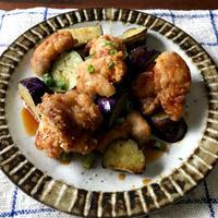 【だししょうゆorめんつゆ1本だけレシピ】鶏とナスのから揚げ、豆腐のひき肉きのこあん、サラダ