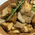 おうちでご飯☆厚揚げ入り生姜焼き&ポテサラ。
