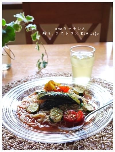 流水麺パスタde簡単~冷製トマトパスタ♪