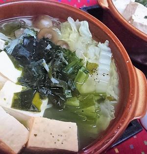 【レシピ】簡単★お手軽★ヘルシー★スパイシー【レンチンねぎ塩一人鍋】