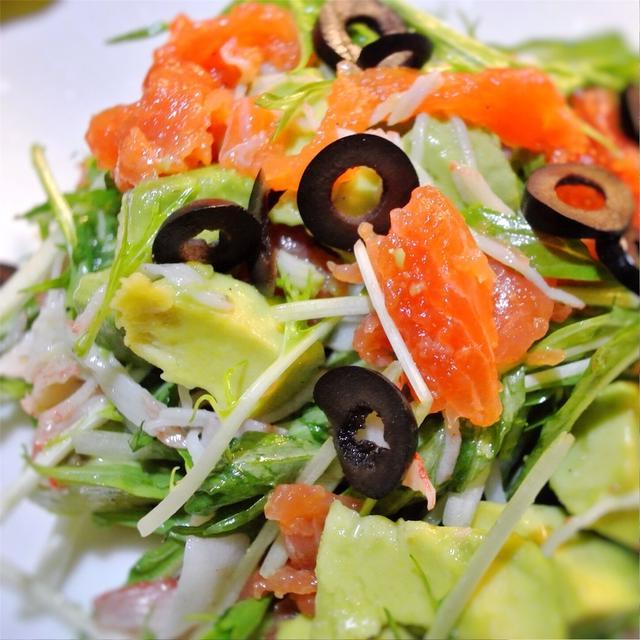 サーモンと水菜、アボカドのサラダ