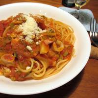 だし×オイル「和風ベースのシーフードトマトスパゲティ」