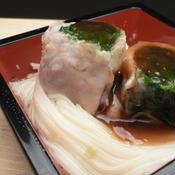 葉大根の肉巻き素麺 冷しゃぶジュレがけ