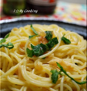 生姜と大葉の梅肉パスタ