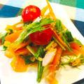 オリーブ油deツナとパプリカの水菜あっさりサラダ