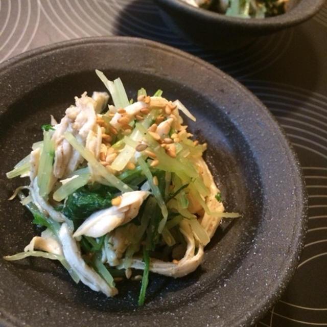 蒸し鶏水菜の麺つゆ和え