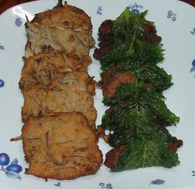 納豆の大葉包み揚げ、牛蒡薩摩揚げ&小松菜の海苔和え