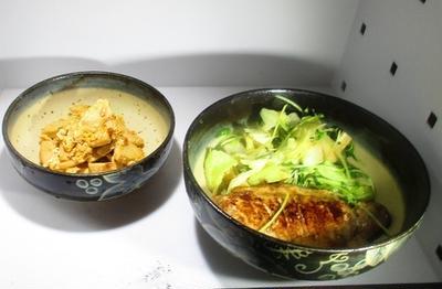 お手軽豚のみそ漬け焼き キャベツと豆苗のスープ煮 筍の卵とじ