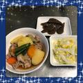【献立18】肉じゃが・白菜とコーンのコールスロー・こんにゃくのガーリック炒め
