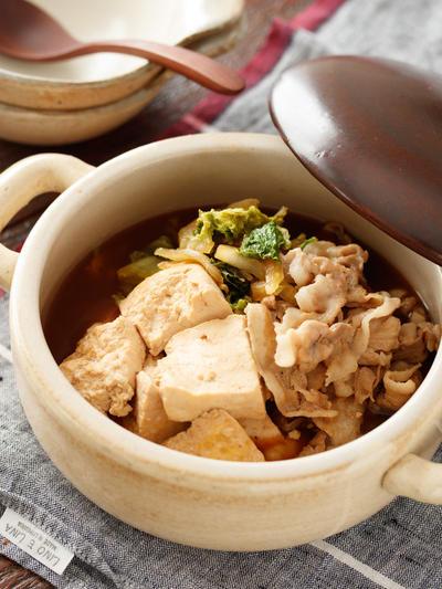 豚肉と白菜の無水♡肉豆腐【#作り置き #包丁不要 #放置でOK #味しみ抜群 #主菜】
