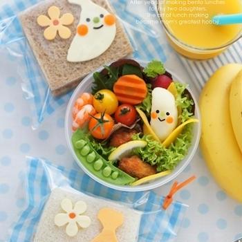 【掲載】バナナキャラのサンドイッチ&マッシュポテトのお弁当++