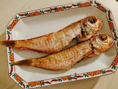 ちっちゃい甘鯛の干物と松前漬け。