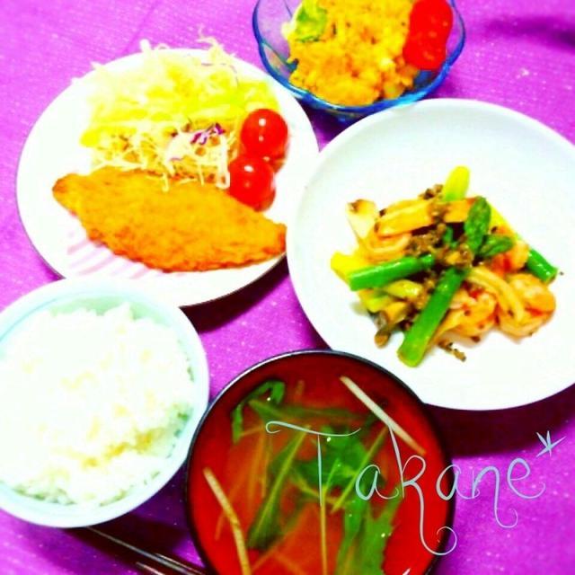 夕飯* 海老とアスパラのオリーブ炒め