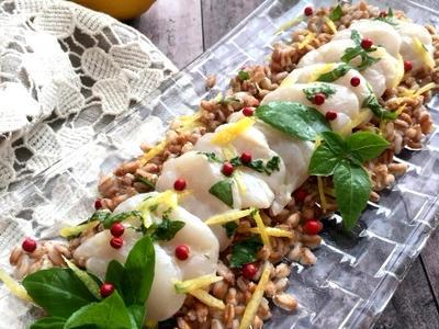 >レモン風味のホタテのカルパッチョ仕立て!スペルト小麦添え by yukoさん