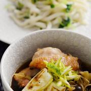 <冷凍うどんで鶏汁つけ麺>